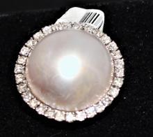 Estate 18K Gold Mabe Pearl & Diamond Ring