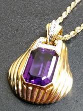 Estate Bold 14K Gold Diamond & Amethyst Pendant