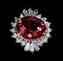 Estate Platinum Ring Set w. Tourmaline & Diamonds