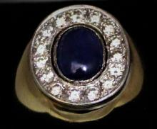Heavy 14K Gold Blue Star Sapphire & Diamond Ring