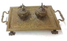 Antique c1880 Victorian Brass Inkwell Set with Bald Eagle Lids  14x9