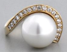 14K Gold Pearl & Diamond Custom Ring