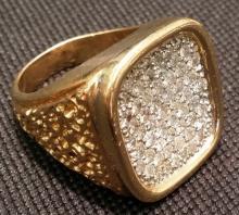 Platinum & 14K Gold Nuget Ring