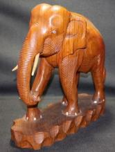 Antique Wood Elephant Sculpture