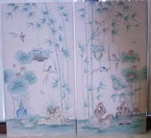 Pair of Matching Over-Sized Asian Art Silk on Board 65x35