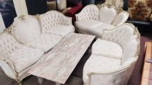 Fine French Gilt Wood & Marble 4-pc Living Room Set