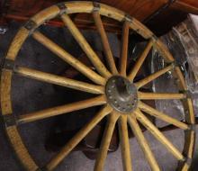 Old American XLg Oak Wood Wagon Cart Wheel