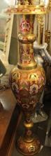 Old XXLg Asian Solid Brass Decorative Vase with Intricate Painted Enamel Finish