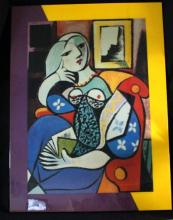 Framed Large Oil on Canvas-Mixed Media Art (Cubism) Sophisticated Lady 47x35
