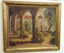 Antique c1917 Original Oil on Canvas Signed Franciscan California Mission Scene 30x29