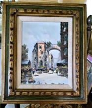 Antique Oil Painting of French Town 25