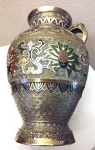 Old c1860 Rare Chinese Gold Leaf & Enamel Vase