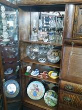 Old Chinese Oak Showcase Bureau & Secretary Cabinet