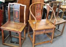 Old Shanxi Chinese Rosewood Chair Set of 3