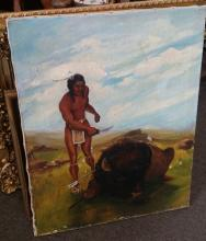 Original Signed Native American Indian & Water Buffalo Oil Painting c1949
