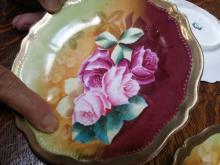 Set (5) Antique Austrian Signed, Hand Painted Porcelain Plate 5-pc Set