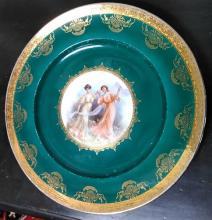 Set (5) Antique Hand Painted Porcelain & 22k Gold Plate Set W. Germany