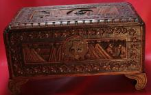 Chinese YU TING Carved Burl Wood Chest