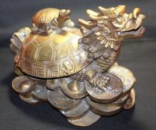 Chinese Solid Brass Dragon Turtle