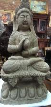 Old Chinese Buddha Sculpture of Lava Stone
