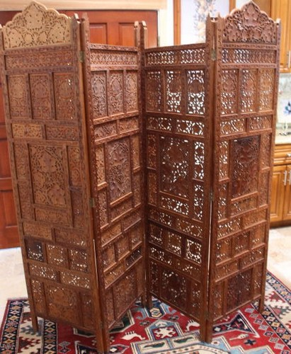 Ancient c1700 beautful teak wall panels room dividers 80x7 for South asian furniture