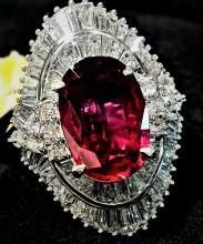 Platinum Natural Ruby Diamond Cocktail Ring (Estate)