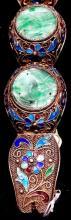Antique Cloisonné 22K Gold /Silve Jade Medallion Bracelet (11)