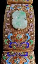 Antique Cloissone 22K Gold /Silve Jade Medallion Bracelet (10)