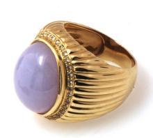14K Gold Lavendar Jade Ring