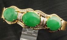 Certified 18K Gold Jade & Diamond Bangle Bracelet (Estate)