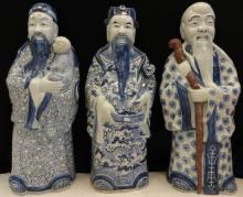 Vintage Chinese Blue & White Porcelain Figures Set (1)