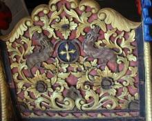 Ancient Mughal Wooden Resting Bed w. Gold Leaf, Claw Feet & Bird Motiff 90x42