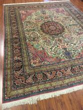Fine Chimo Silk Rug with Persian Medallion Design #567