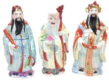 Hallmarked Vintage Chinese Porcelain Scholarly Trio Statues 9.00