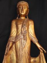 Old Gilted Burmese Buddha Shakyamun Statue on Stand 44