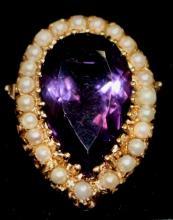 Estate Bold 14K Gold Amethyst & Pearl Ring