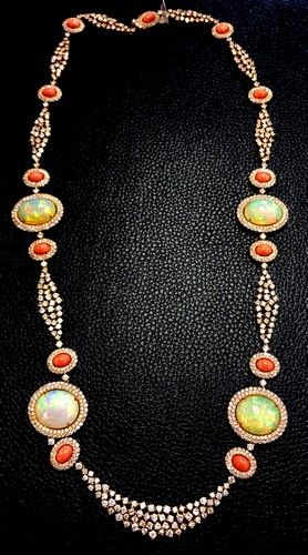 Free Fedx 18k Gold Designer Art Deco Opal Coral Amp Diamond N