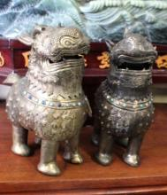 Pair of Jeweled Chinese Gold Washed Silver Kirlin Lions