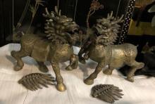 Rare Chinese Art Pair of Bronze Kirlin Sculpture