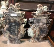 Rare Chinese Art Pair of Jade Jadeite Sculptures