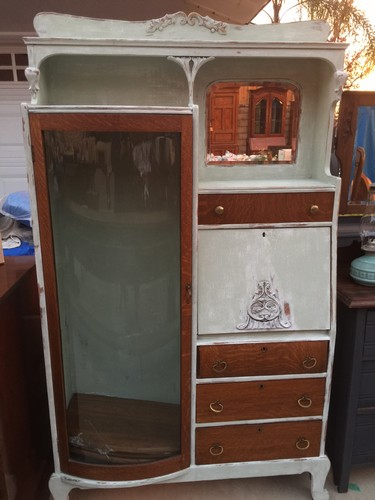Antique Curio Secretariat Display Cabinet