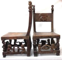 African Chokwe Matching Throne Chair Set