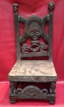 African Chokwe Tribe Chief Chair Light Tone Seat Hide