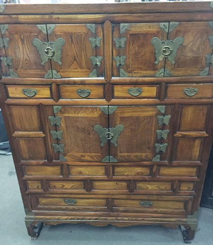 Antique Korean Elmwood Wedding Cabinet