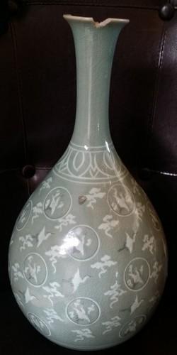 Vintage Celadon vase decorated w. In-laid Roundels & Cranes 16x8