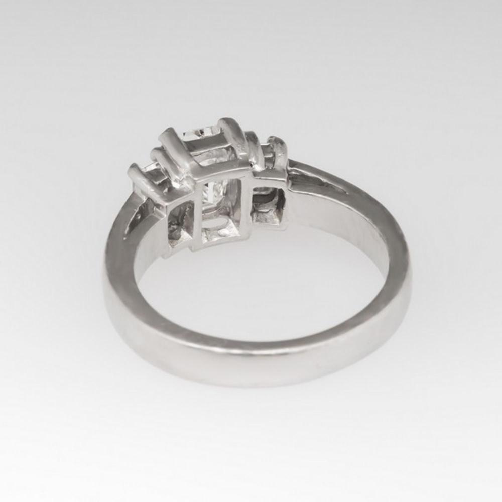 Platinum Certified Diamond Ring W Emerald Cut 3 Stone