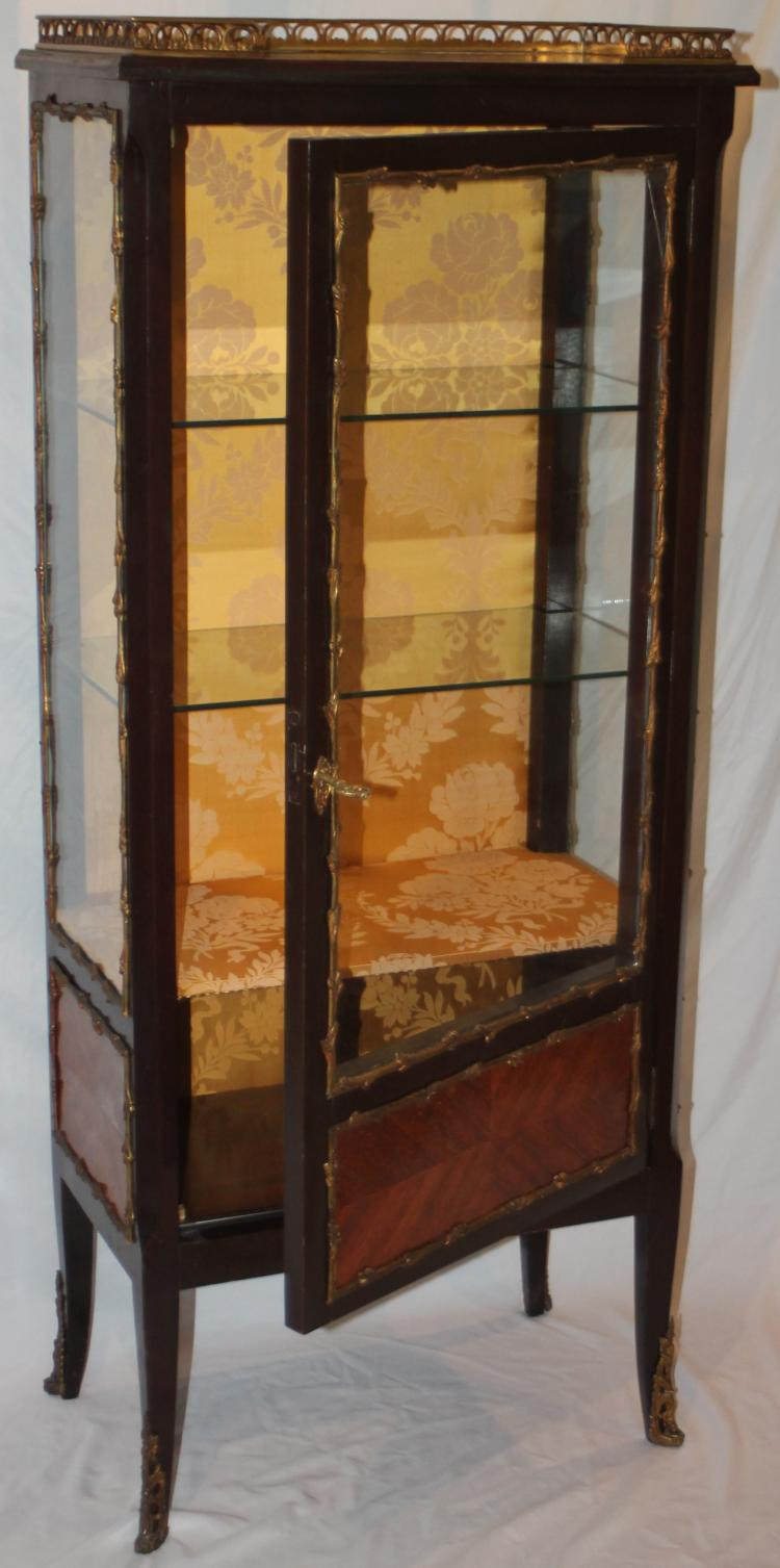 Exceptional French Vitrine Cabinet W Gilt Ormolu Adornments