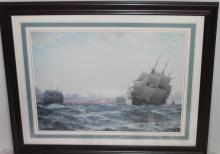 LARGE NAUTICAL FRAMED SHIPS PRINT