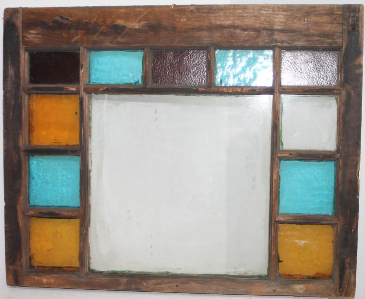 19c 12 panel leaded stained glass window w original green for 15 panel beveled glass door