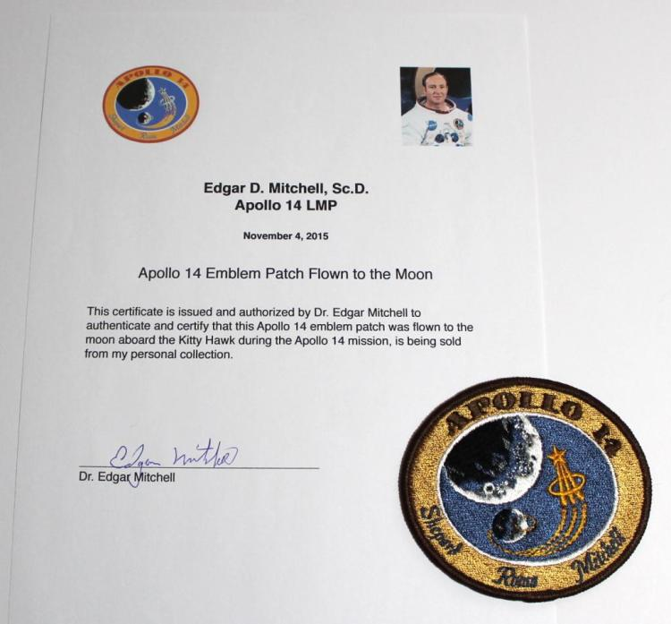Apollo 14 Patch Flown to the Moon With Mitchell COA